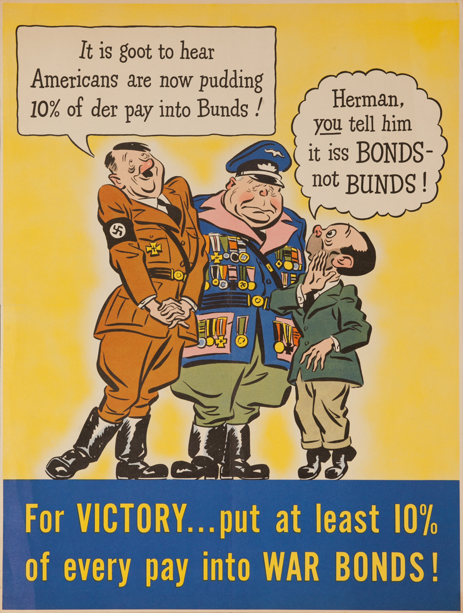 For Victory Put 10% into War Bonds Original American WWII Poster