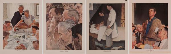 Rockwell 4 Freedoms Original Vintage World War II Poster