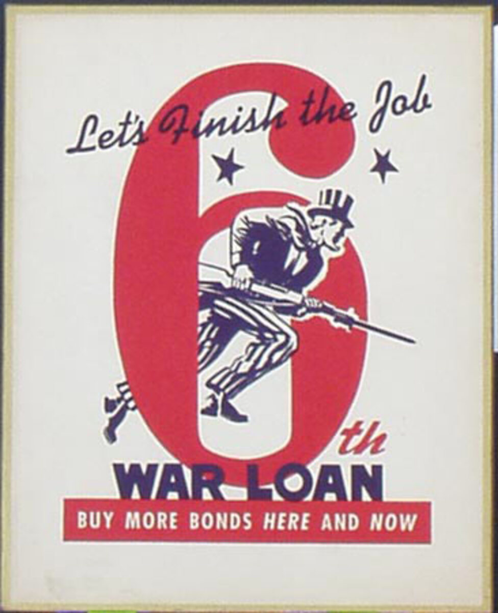 WWII 6th Liberty Loan Minute Man Uncle Sam Card Original Vintage Propaganda Poster