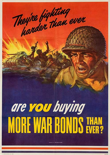 Are You Buying More War Bonds Than Ever? Original American WWII Bond Poster small size