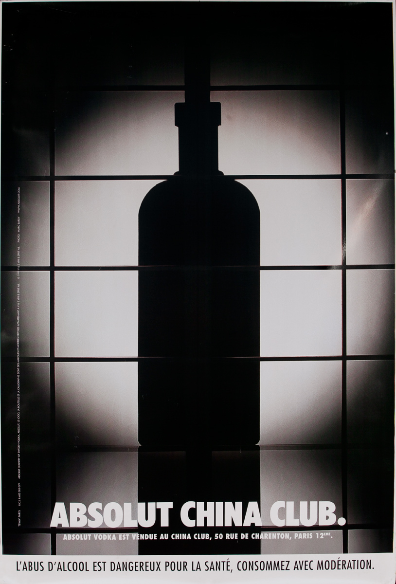 Absolut Vodka Original French Advertising Poster China Club