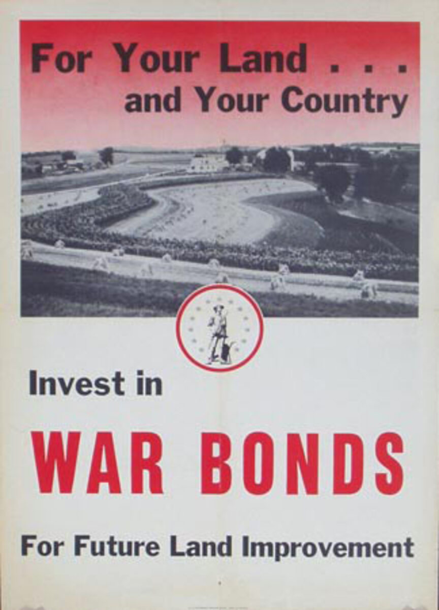 For Your Land Original Vintage World War II Poster