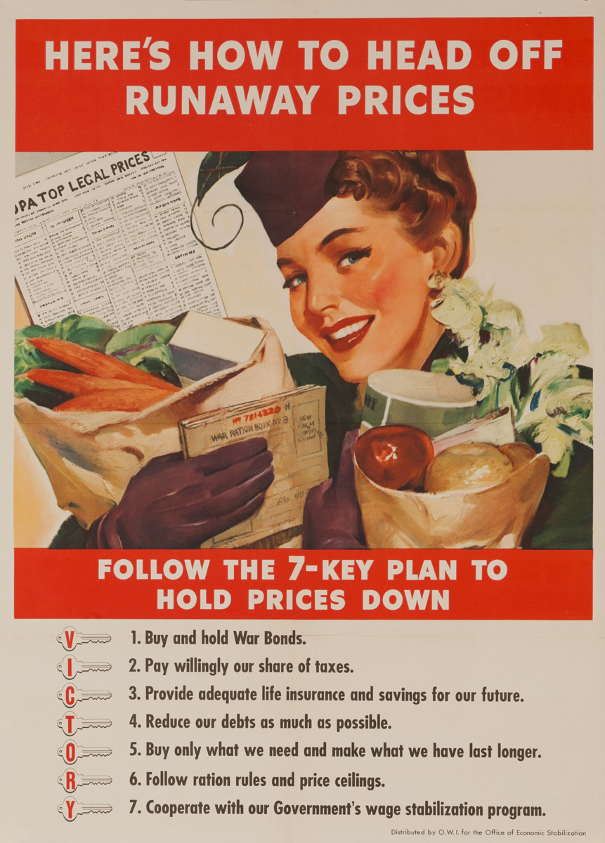 Head Off Runaway Prices Original Vintage WWII Poster