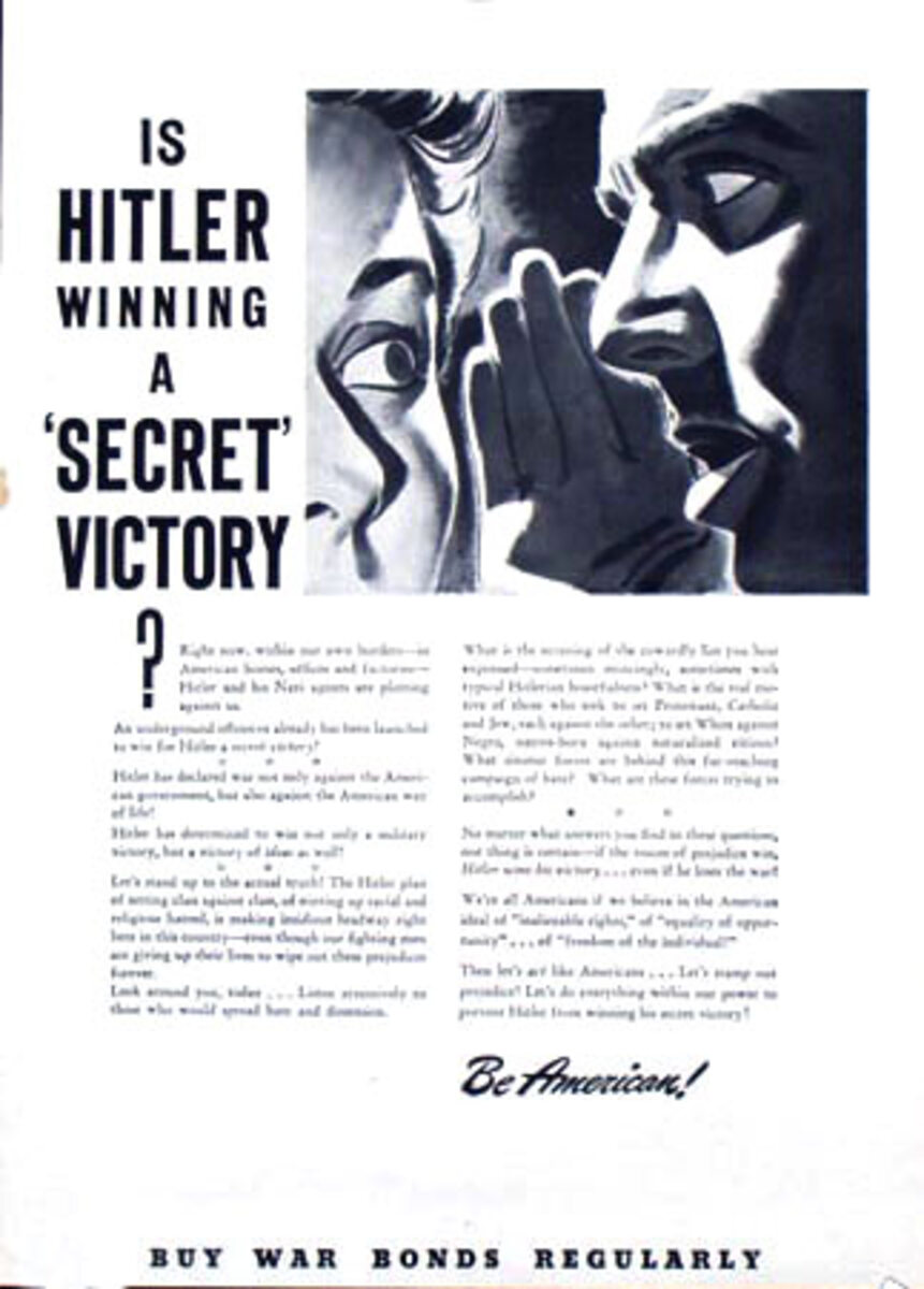 Is Hitler Winning Original Vintage World War II Poster