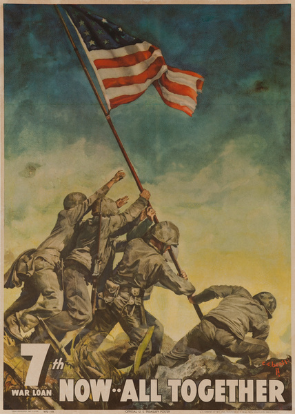 7th War Loan Now All Together Iwo Jima American WWII Poster
