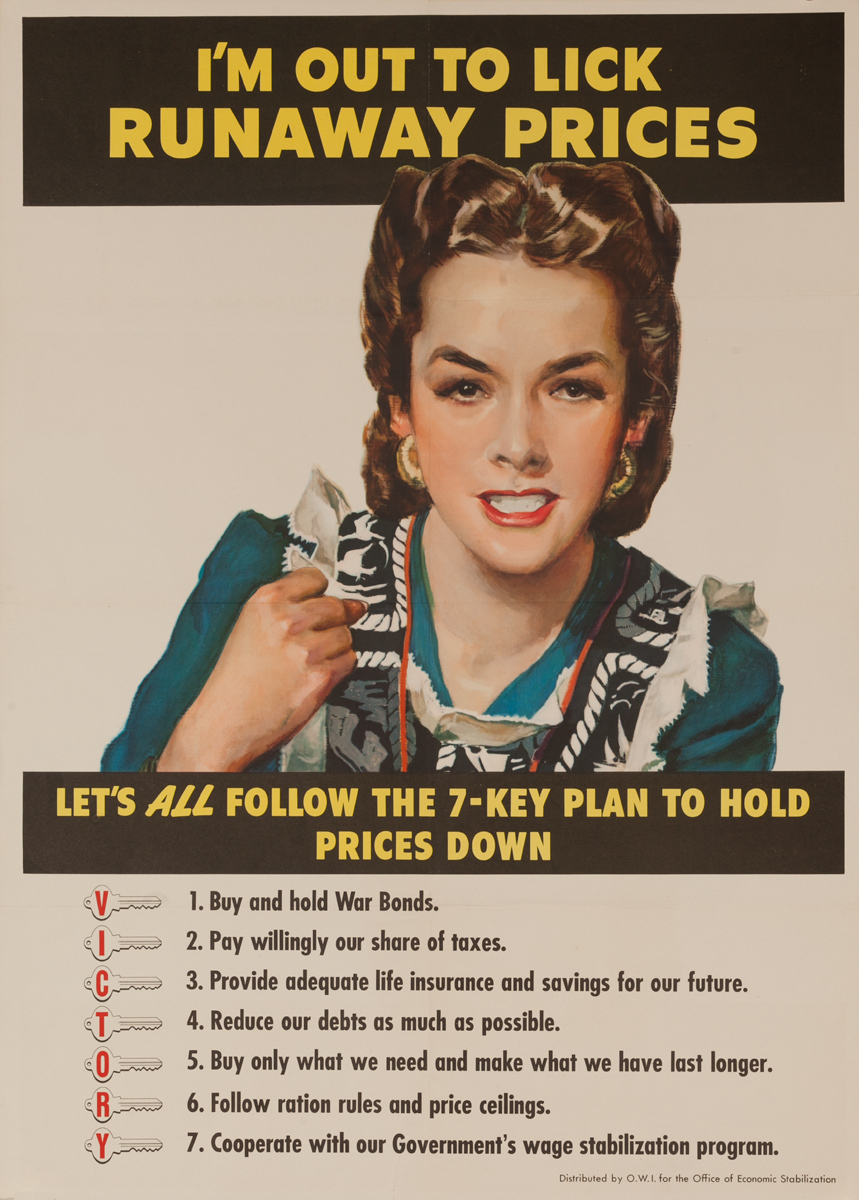 I'm Out To Lick Runaway Prices Original Vintage WWII Poster