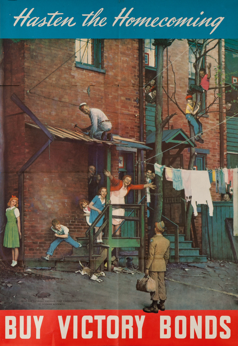Hasten The Homecoming Original Norman Rockwell WWII Poster