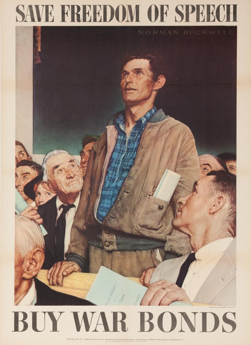 Freedom of Speech Original Vintage WWII Poster