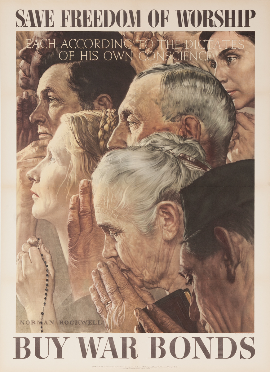 Freedom of Worship Original Vintage WWII Poster