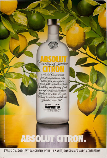 Absolut Vodka Original French Advertising Poster Citron
