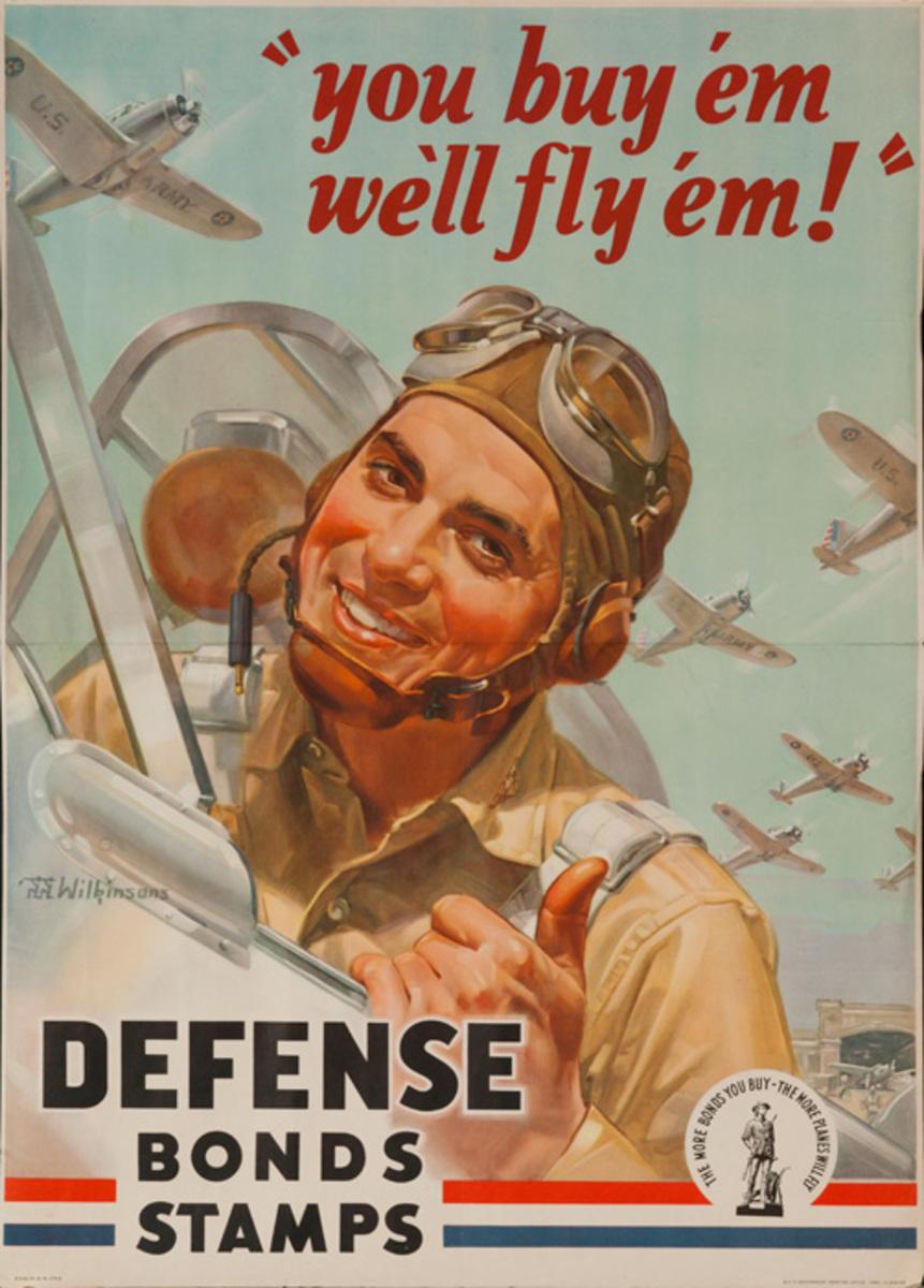 You Buy Em, We'll Fly Em Original World War 2 Defense Bond Poster