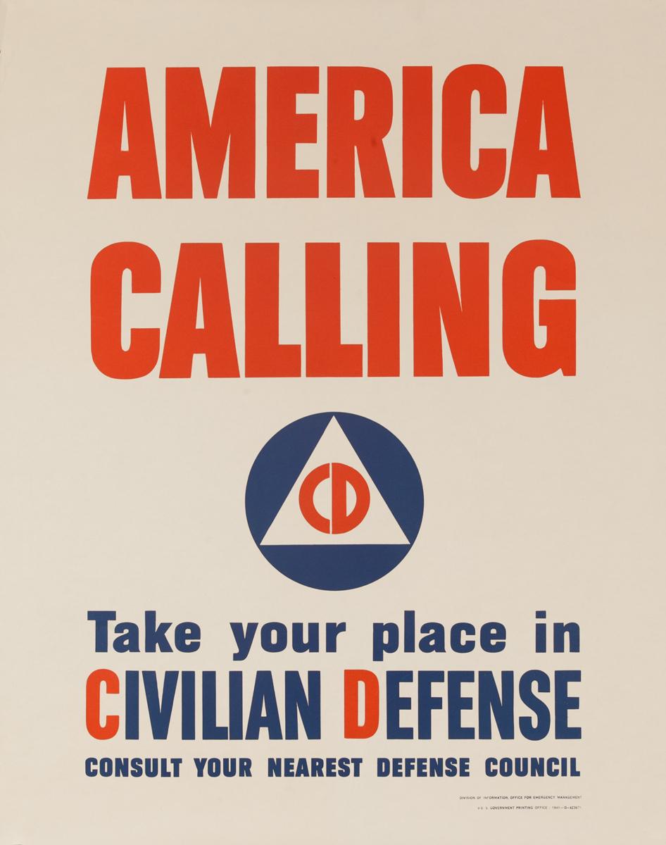 America Calling Original Vintage World War II Civil Defense Poster