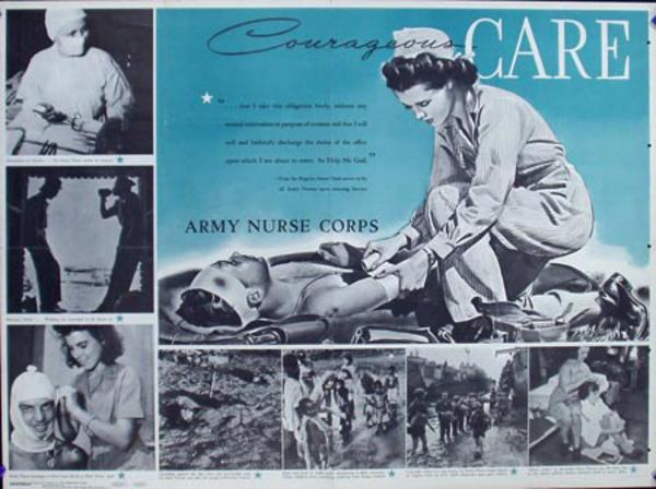 Courage Care Army Nurse Original Vintage World War II Poster