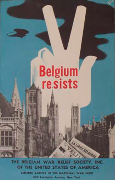 Belgium Resists Original Vintage WWII Poster