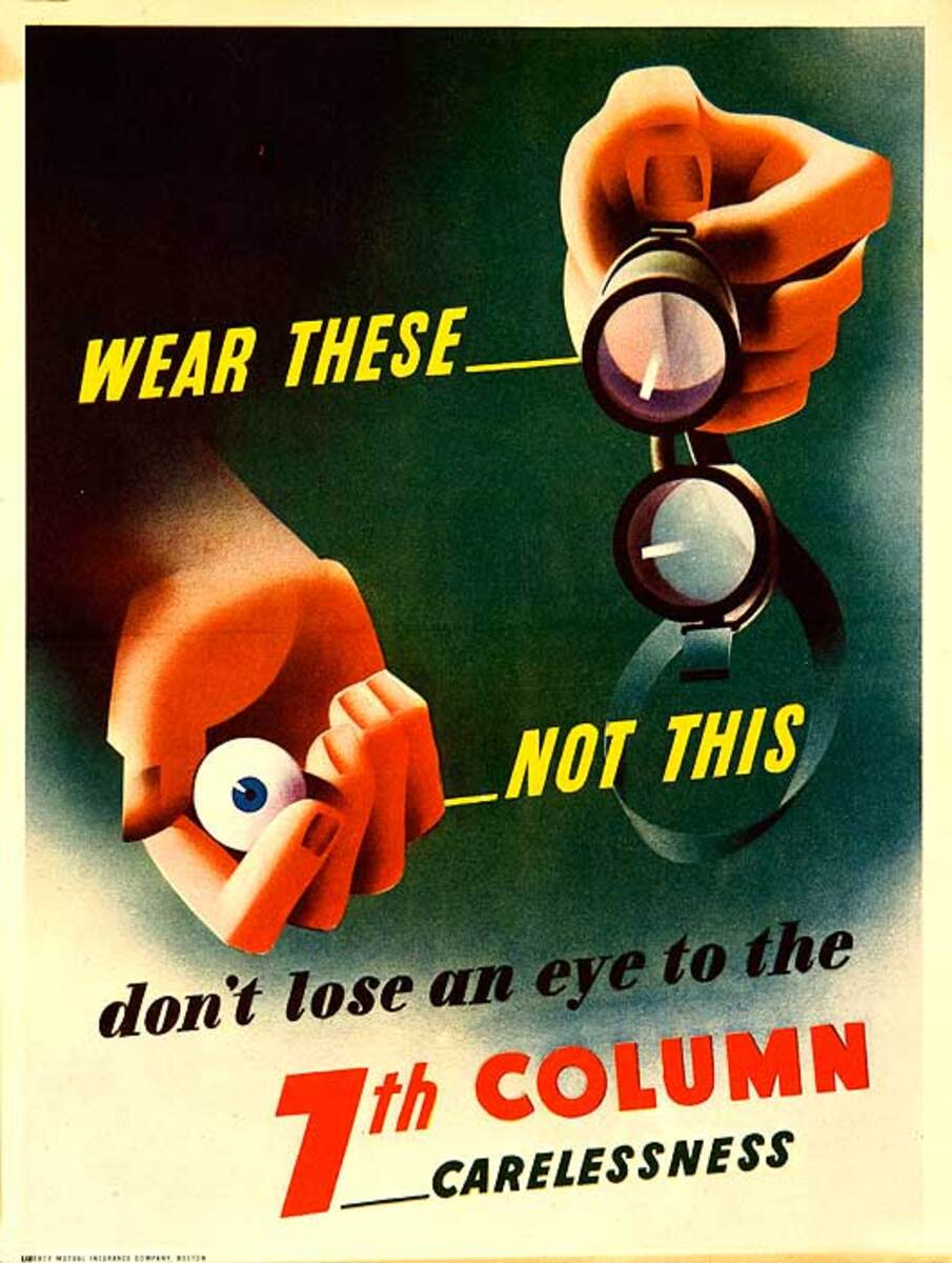 Wear These Not This Don't Lose and Eye Original American WWII Safety Poster