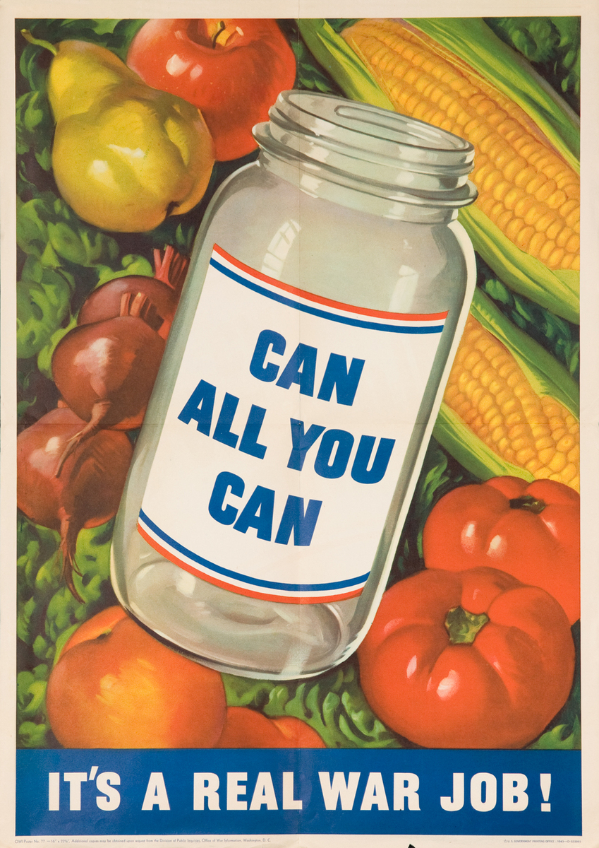 Can All You Can Original American WWII Poster, small size