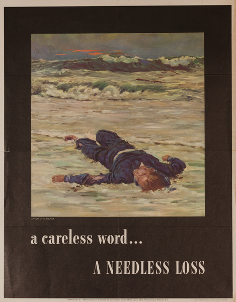 A Careless Word A Needless Loss Original WWII Poster