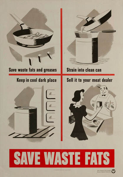 Save Waste Fats Original American WWII Conservation Poster