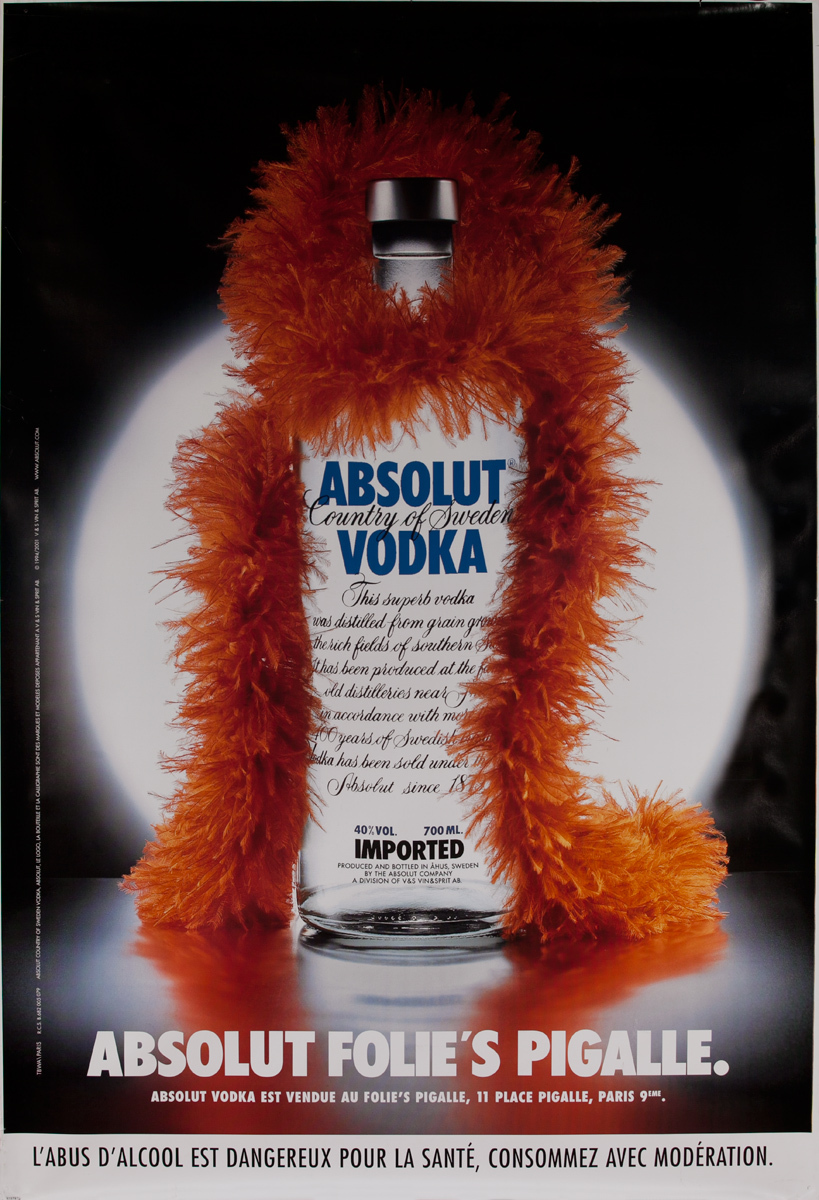Absolut Vodka Original French Advertising Poster Follies Pigalle