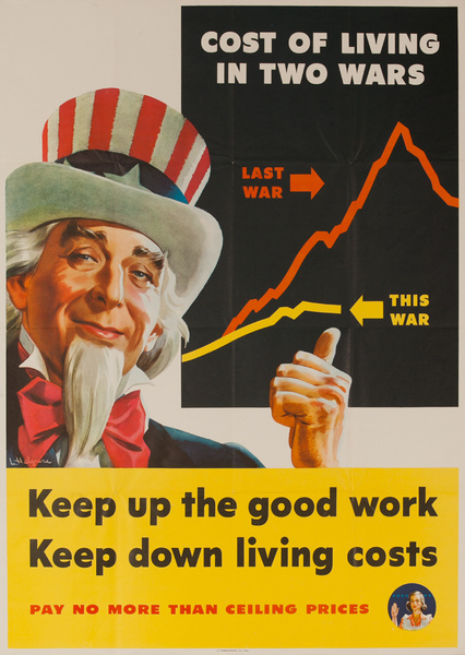 Uncle Sam High Cost of Living Original WWII American Homefront Poster, small size