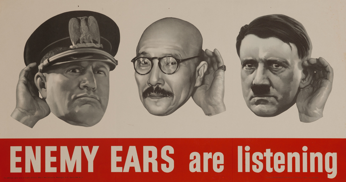 Enemy Ears are Listening Original American WWII Homefront Poster