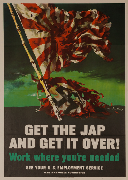 Get the Jap and Get it Over Original American WWII Homefront Poster
