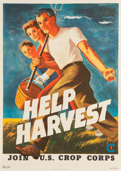 Help Harvest Join  US Crop Corps Original American WWII Homefront Poster