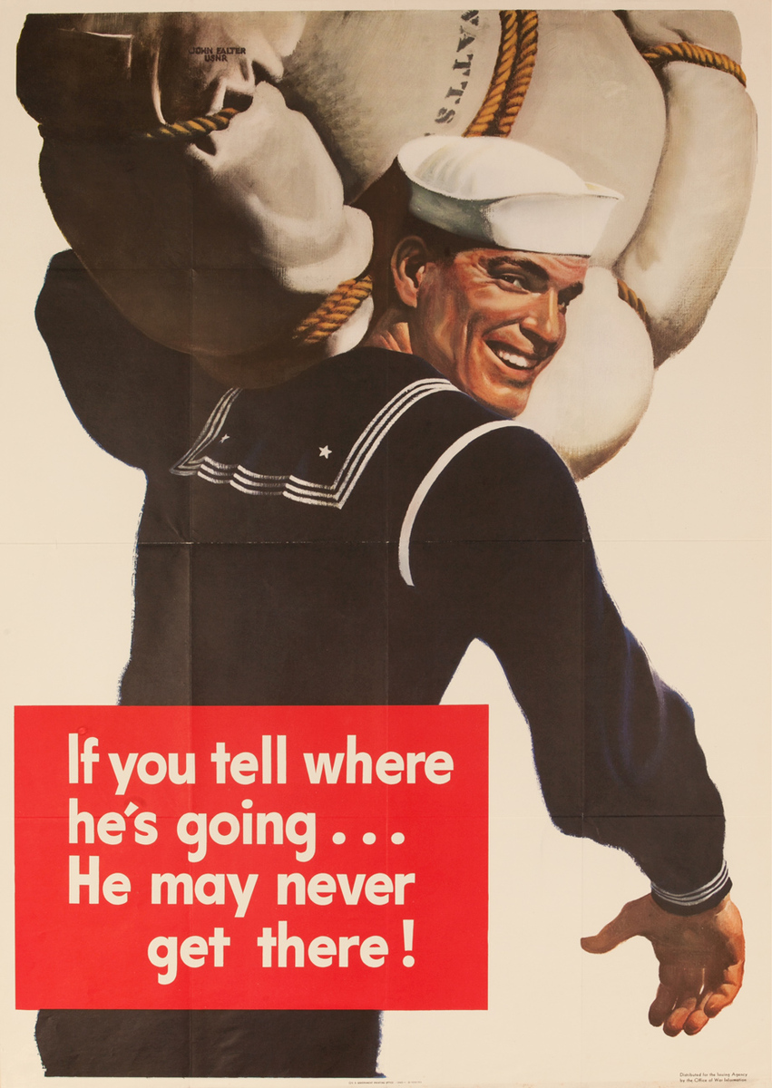 If you tell where he's going ...He may never get there!, Original WWII Homefront Poster