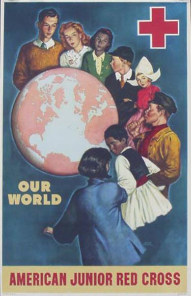 Junior Red Cross Our World Original Vintage World War II Poster