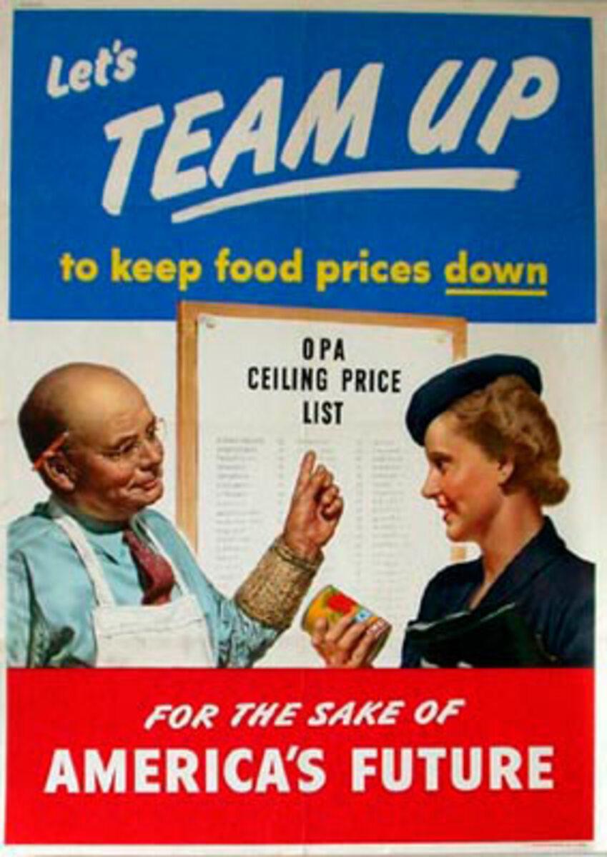 Lets Team Up Original Vintage WWII Poster