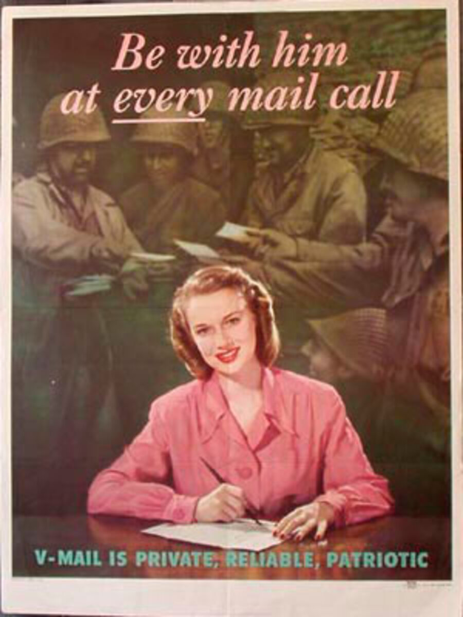 Be With Him At Every Mail Call Original Vintage WWII Poster