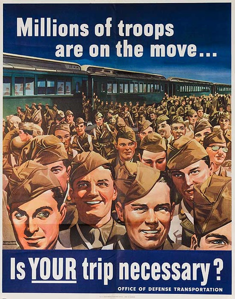 Millions of Troops on The Move, Is your Trip Necessary? Original Vintage WWII Poster