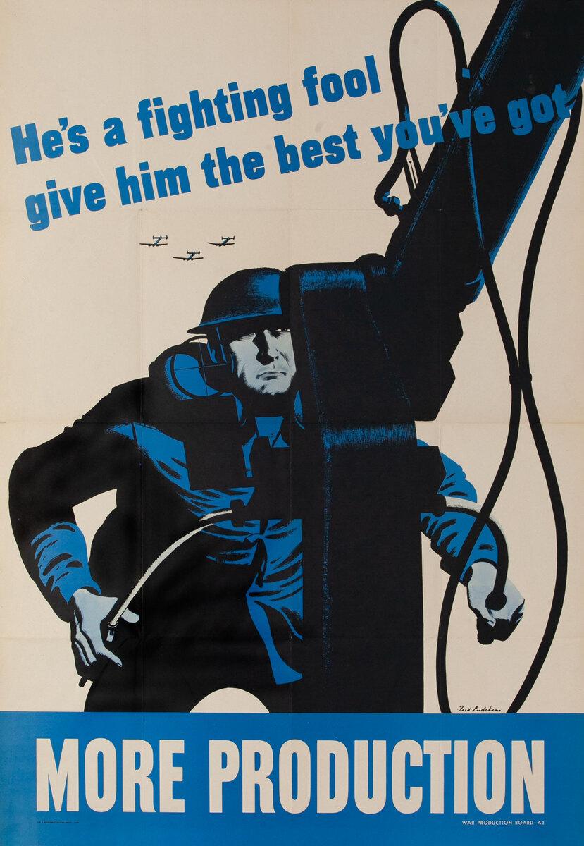 More Production Anti Aircraft Gunner Original Vintage World War Two Poster