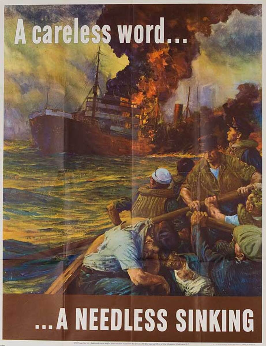 A Careless Word a Needless Sinking Original American WWII Poster
