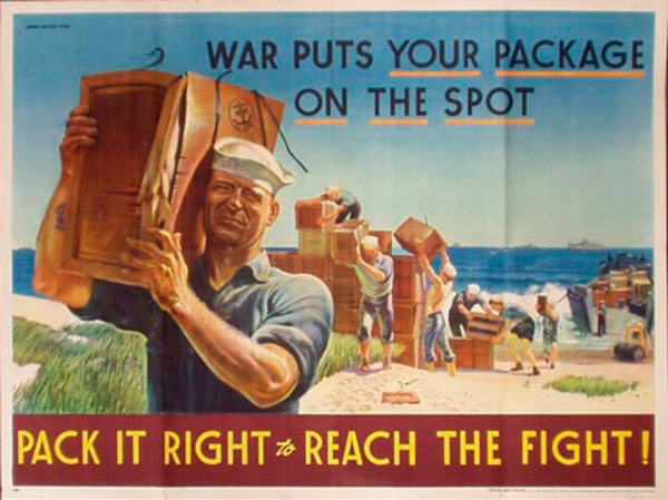 War Puts Your Package on the Spot, Pack It Right Original Vintage WWII Poster