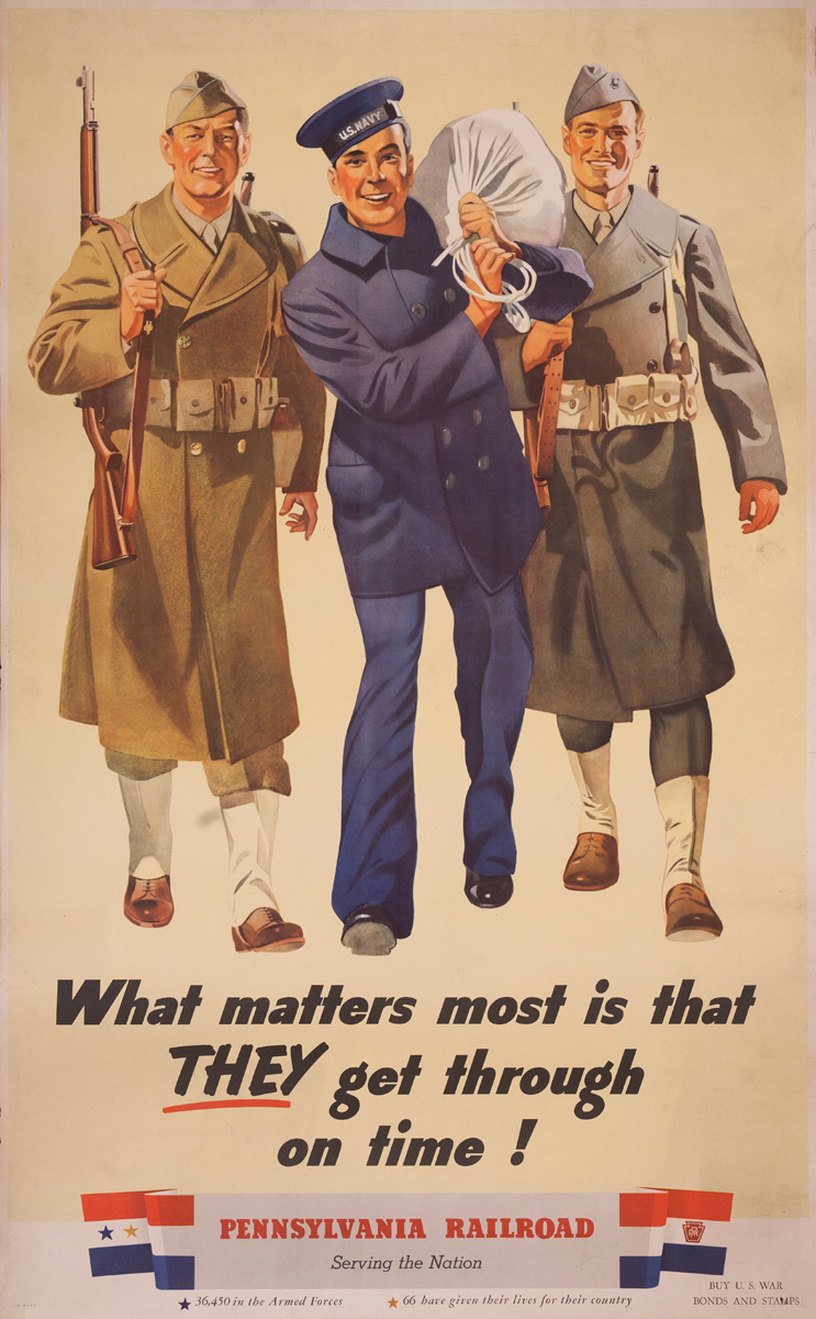 Original Pennsylvania Railroad World War Two Homefront Poster What Matters Most is That They Get Through