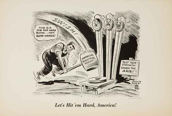 Let's Hit em Hard America Original WWII Philco Propaganda Poster