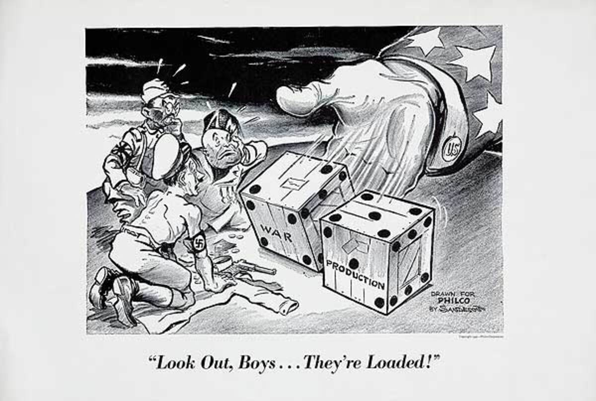 """""""Look Out Boys...They're Loaded!""""Original WWII Philco Homefront Production Poster"""