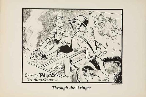 Through The Wringer Original WWII Philco Propaganda Poster