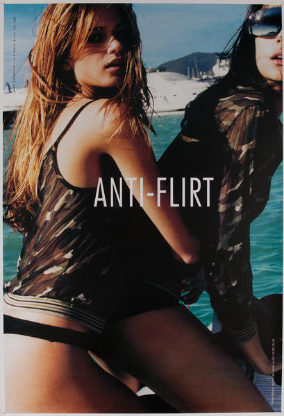Anti Flirt Clothing, Original Vintage Poster, two girls