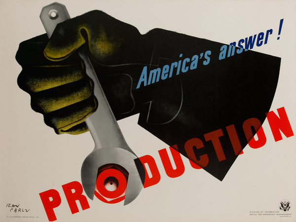 Production (Carlu) Original Vintage WWII Poster