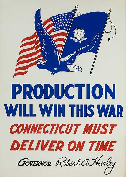Production Will Win This War Original American WWII Homefront Poster