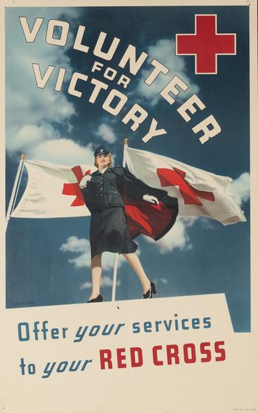 Volunteer for Victory Original American WWI Red Cross Poster