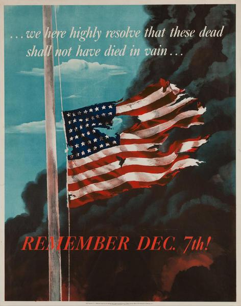 Remember December 7 Original World War II Poster, extra small size