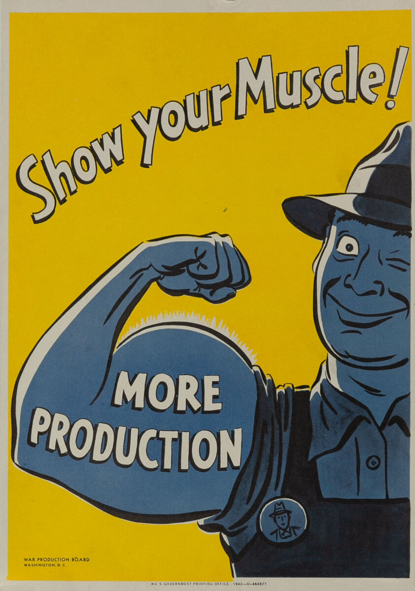 Show Your Muscle WWII Original Vintage Propaganda Poster