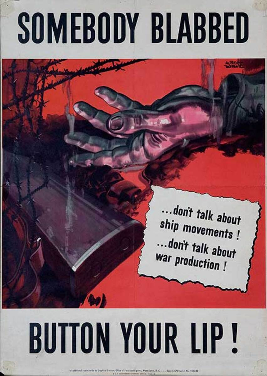 Someone Blabbed Button Your Lip! Original WWII Homefront Security Poster