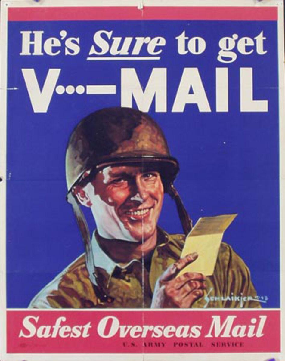 Sure to Get V Mail Original Vintage World War II Poster
