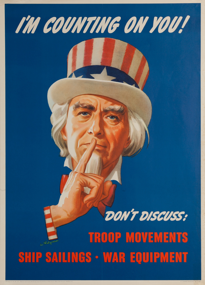I'm Counting on You, Don't Discuss Original Vintage WWII Poster, Uncle Sam