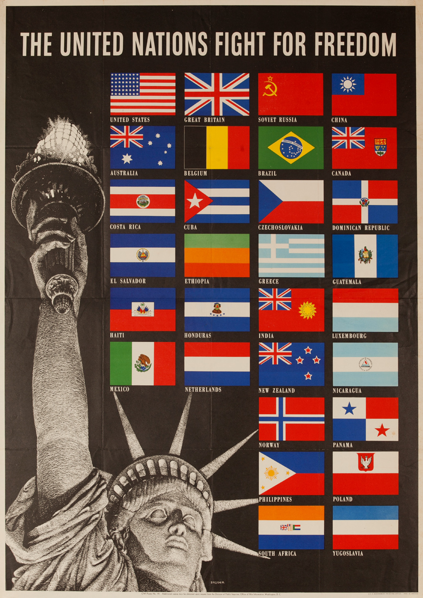 United Nations Fight for Freedom Original WWII Poster, small size