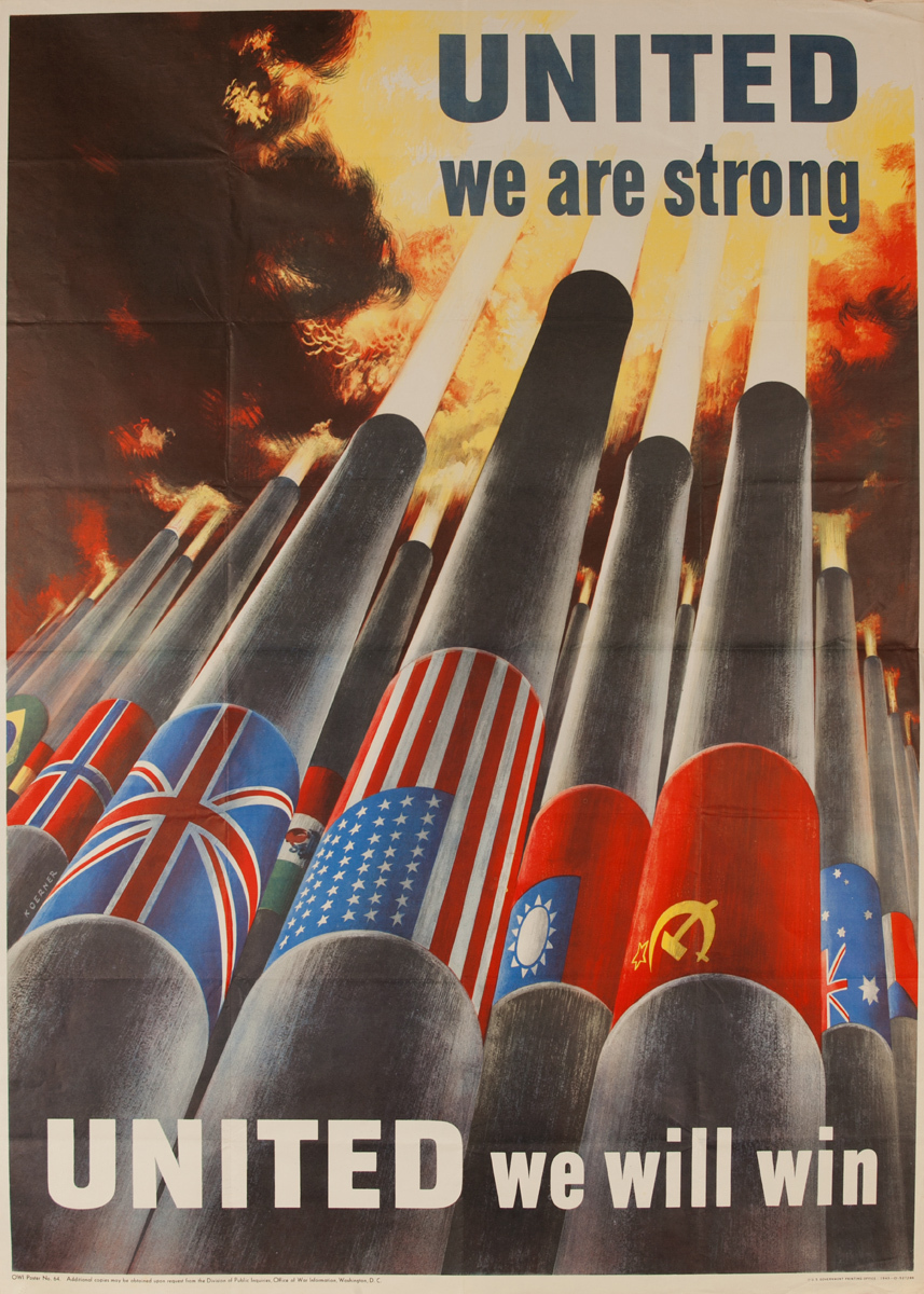 United We Are Strong Original WWII Poster, small size